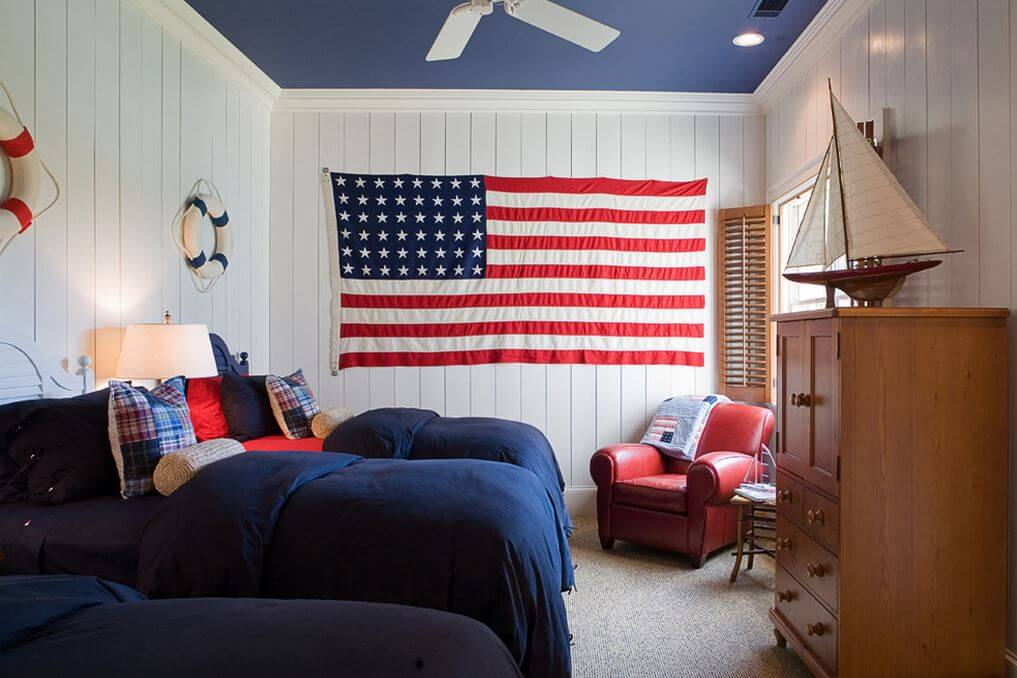 All american red white and blue decor for American bedrooms