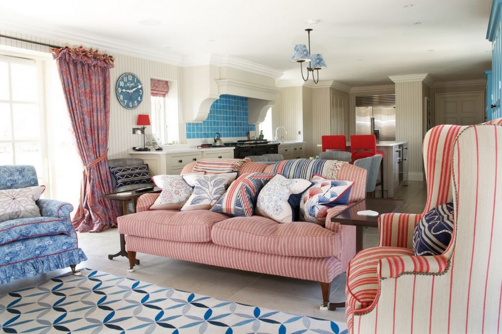 All american red white and blue decor for Red and blue living room ideas