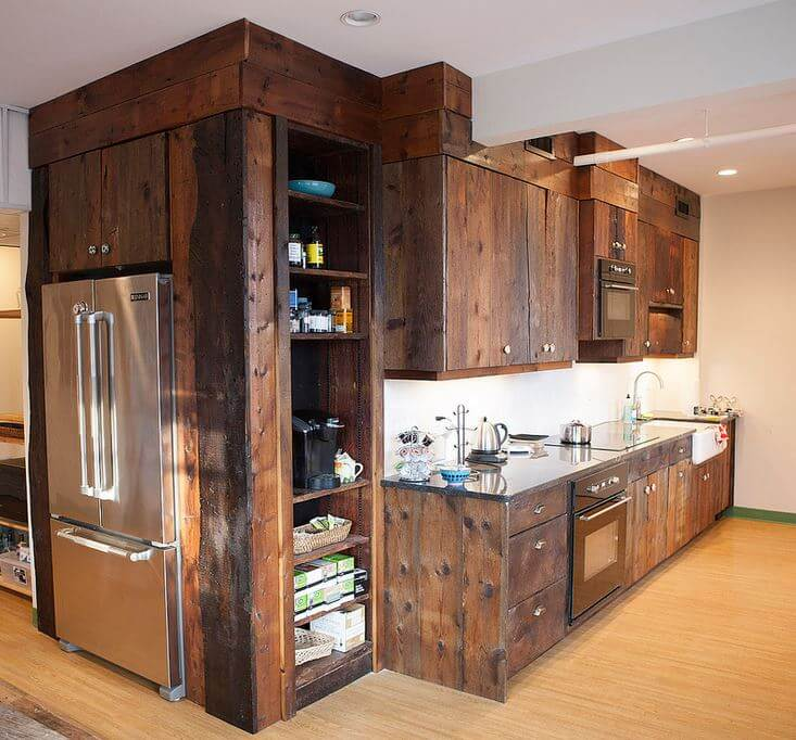 Reclaimed wood used in this kitchen