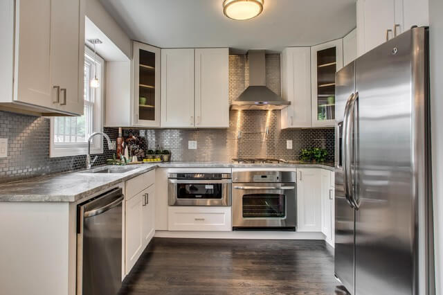 transitional kitchen steel subway tile backsplash