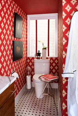 Amazing bold bathroom by Christopher Patrick Interiors.