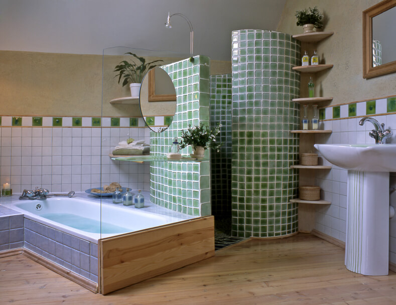 big bathroom remodeling with green mosaic