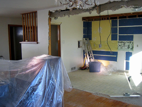A home undergoing renovations