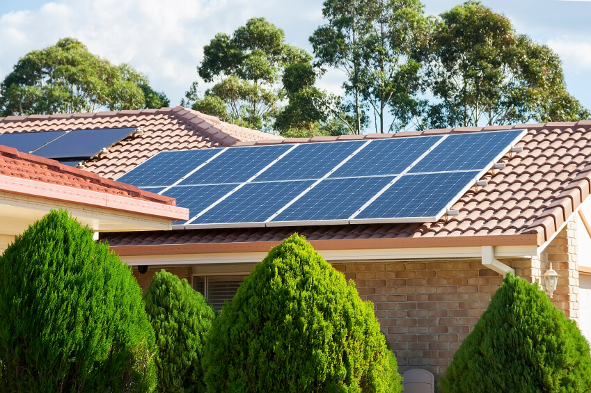 Solar panels on a home.
