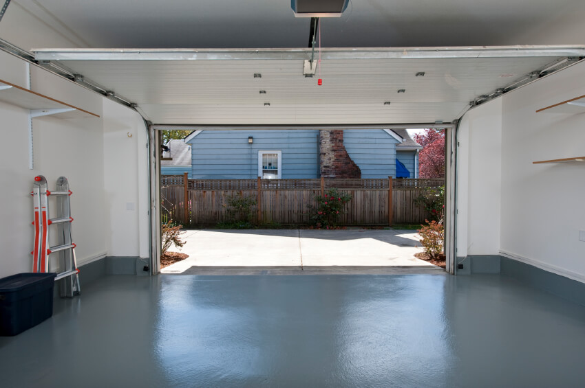 A clean two-car garage of a house.