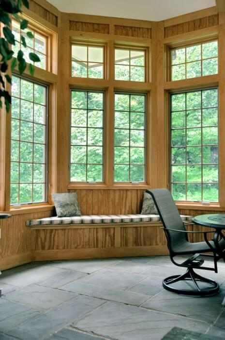 Large wood framed windows