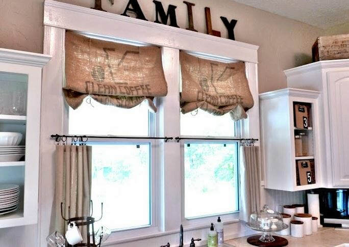 burlap kitchen valance