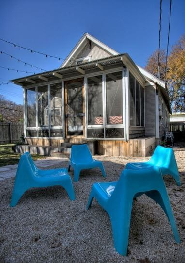 A cozy Austin backyard designed by Maggie McIntosh of Moontower Design Build.