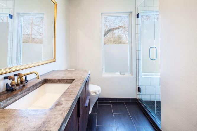 An incredibly gorgeous bathroom designed by Maggie McIntosh of Moontower Design Build.