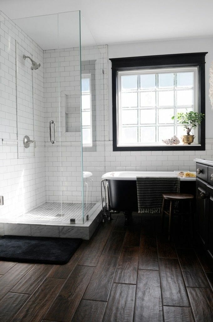 Add warmth to a room with wood tile flooring modernize for Wood floor bathroom