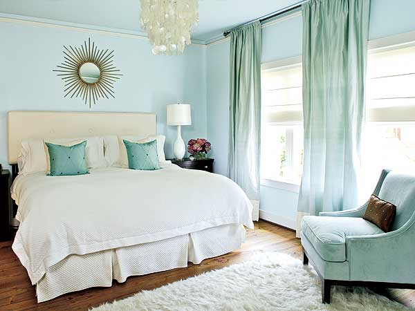 turquoise curtains in bedroom