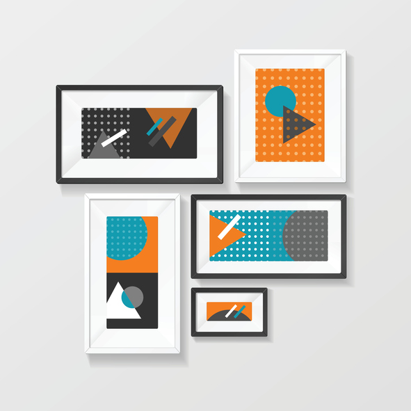 Modern Picture Frame Set Hanging on Wall for the House and Office. Home Decor. Vector illustration