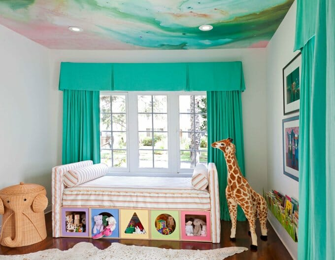 teal curtains in kids room