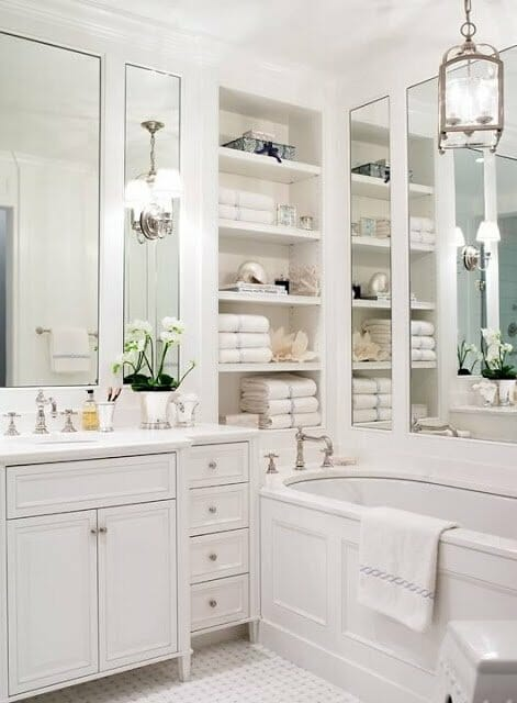 Add Mirror Panels All Around The Bathroom To Make The Space Feel Larger.