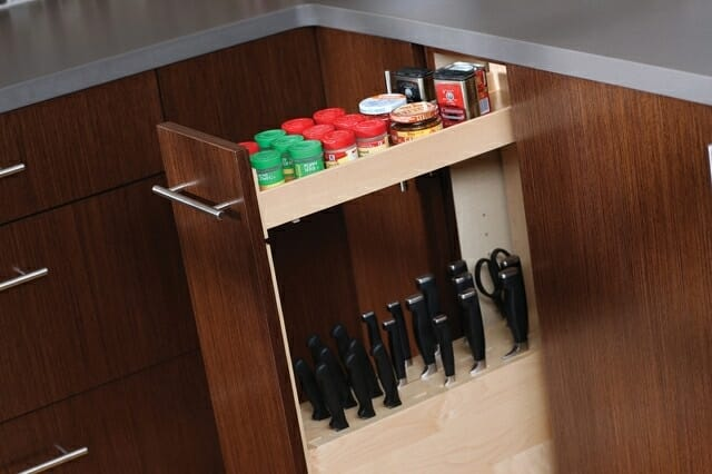 pull out cabinet knife storage