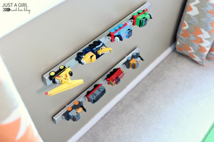 ikea hack magnetic strip to hold toy cars