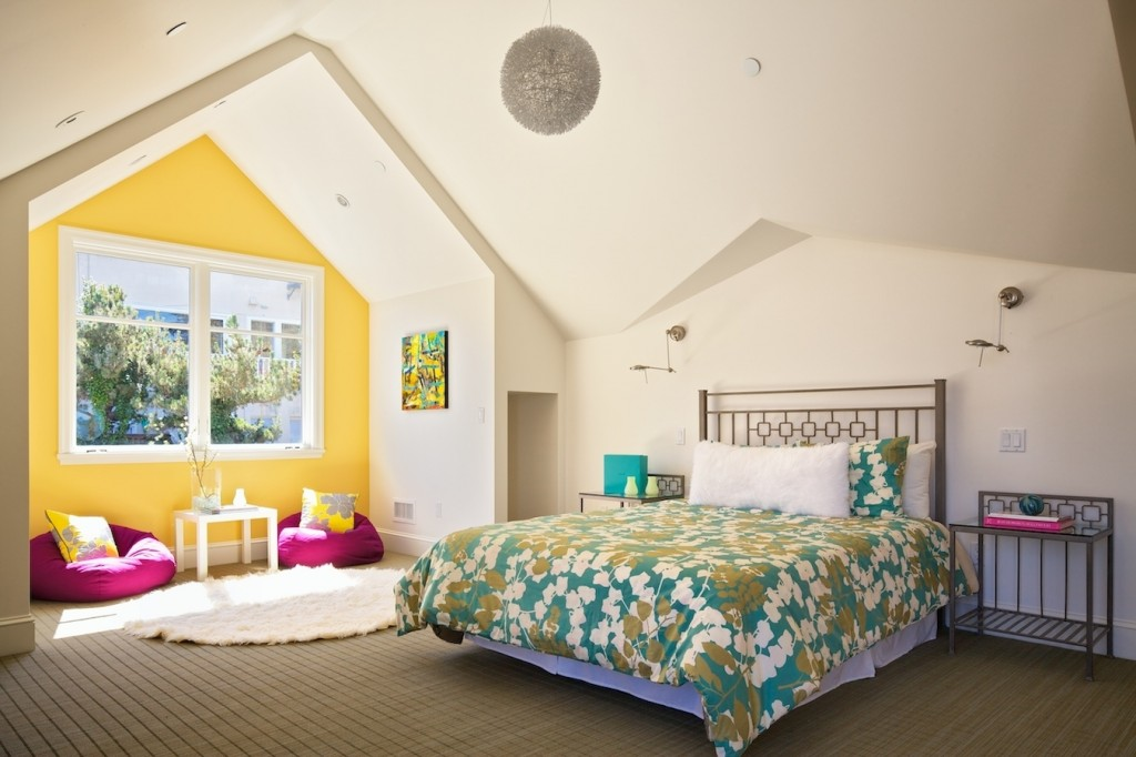 yellow wall in bedroom