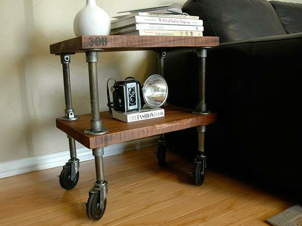 industrial pipe side table