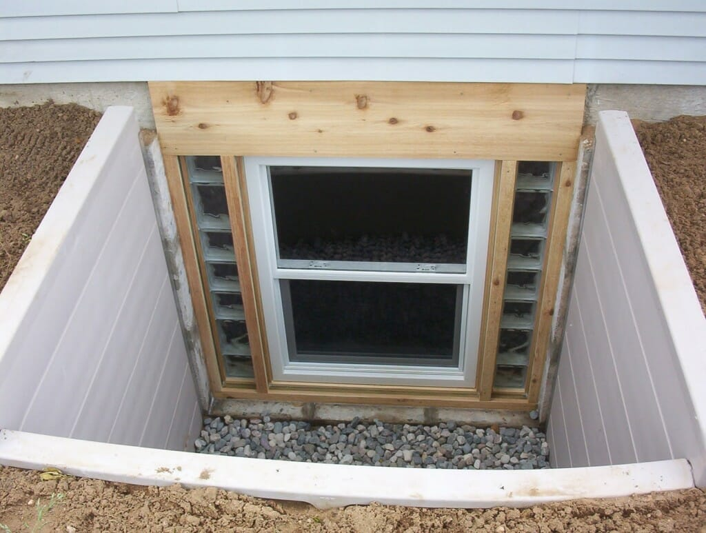 An egress window leading to the outside