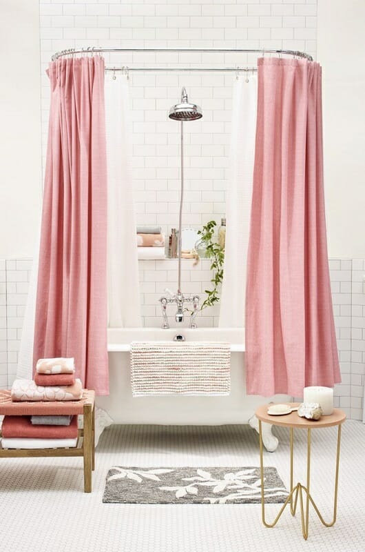 White bathroom with pink accents