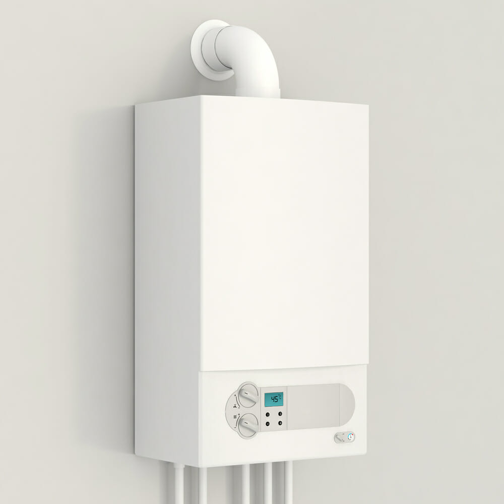 A white gas boiler inside of a home.