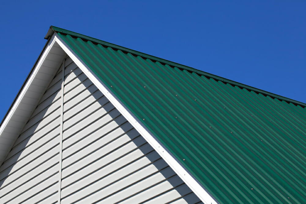 Close-up image of a corrugated roof