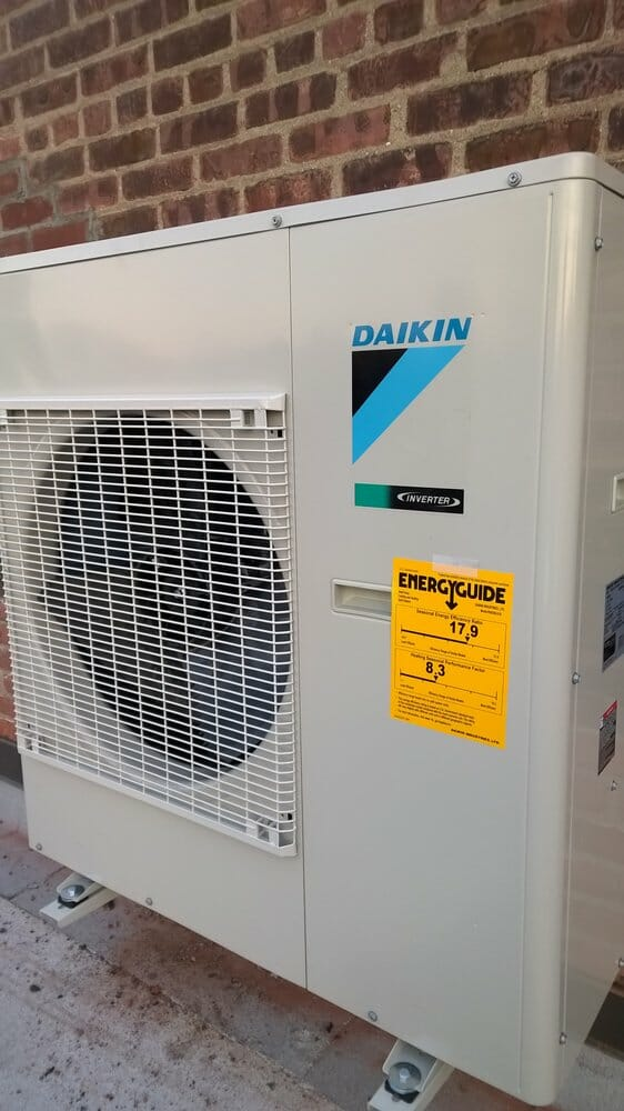 Close-up of a Daikin HVAC unit.