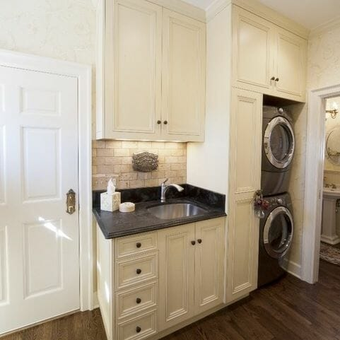 12 fresh ideas for a functional laundry room modernize for Washer and dryer in bathroom designs