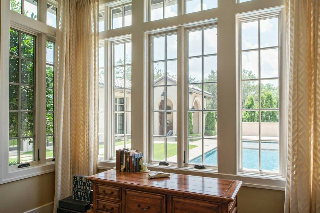 Large marvin windows with drapes