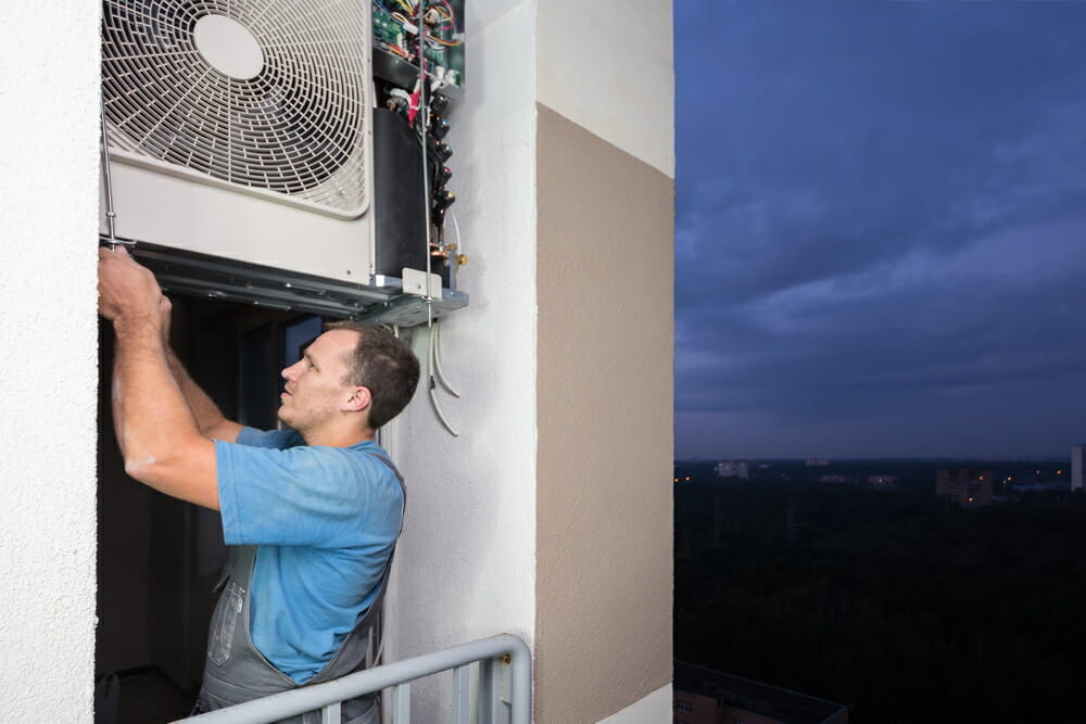 A contractor installs a split air conditioner