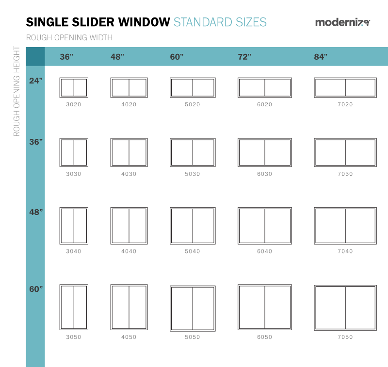 Standard Window Sizes Single Slider