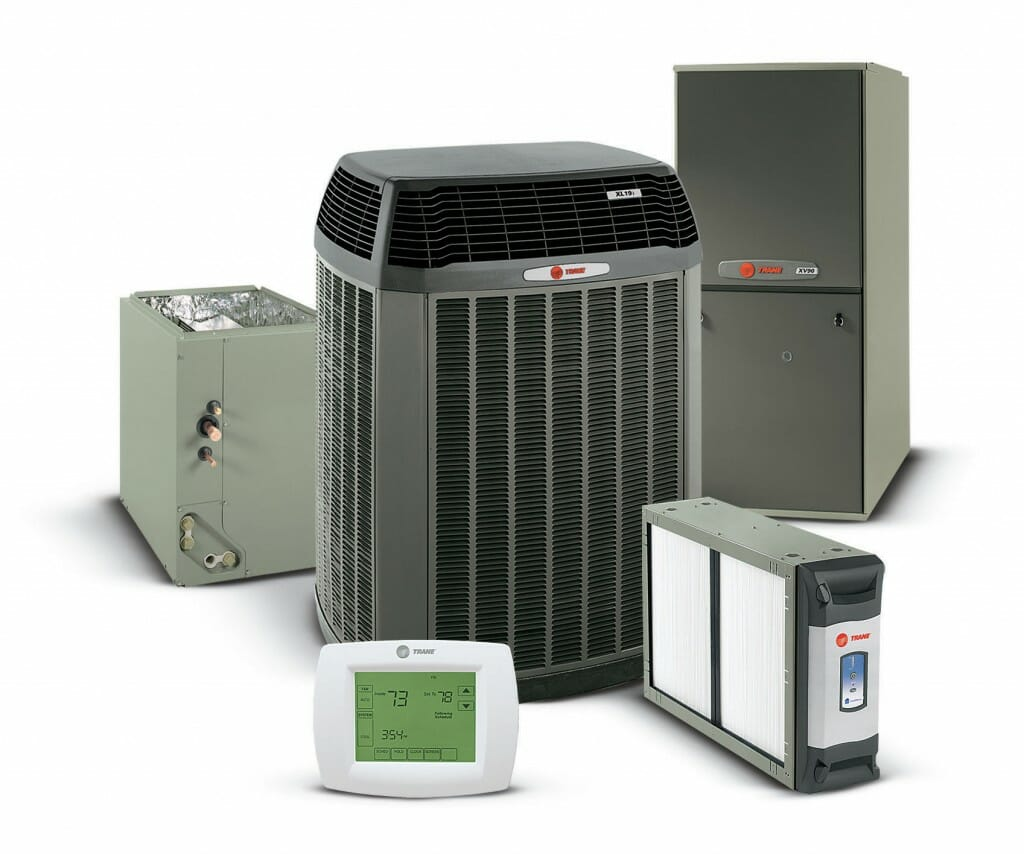 Close-up image of 6 Trane hvac products.
