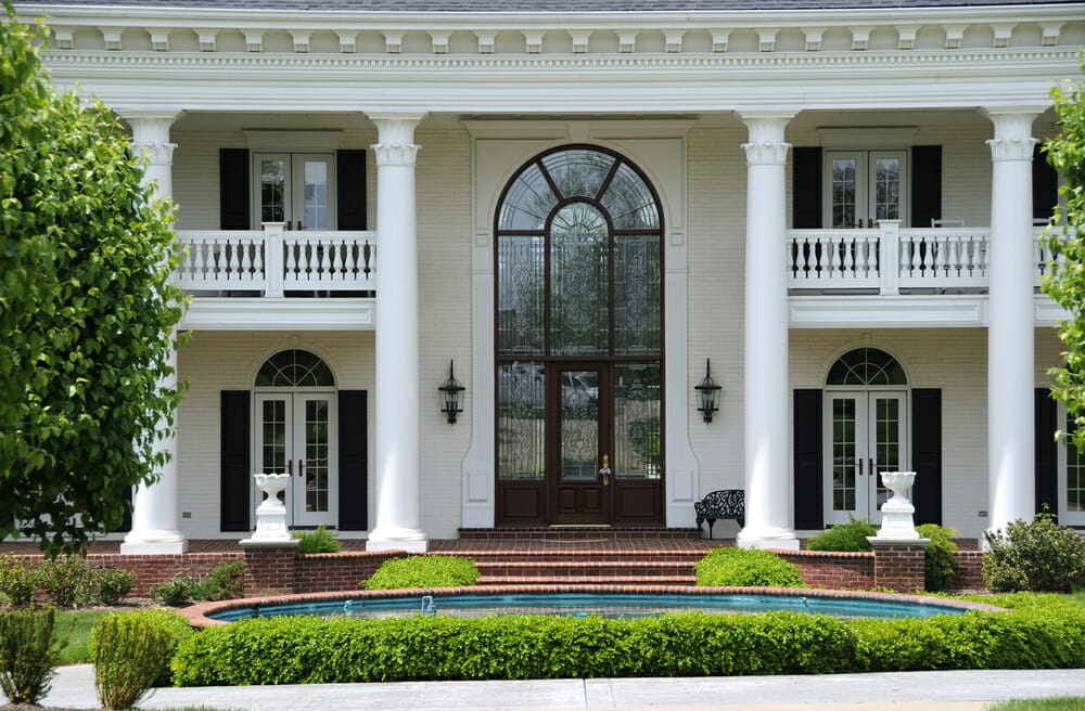 Large white house with transom windows
