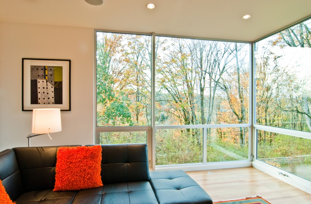 Triple pane windows in a living room