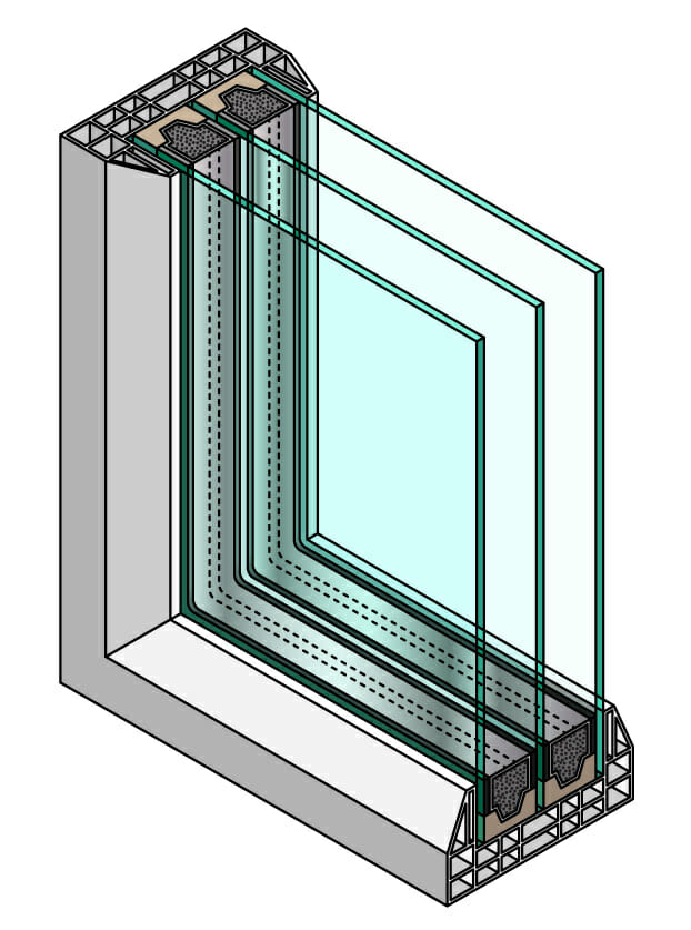 triple pane window diagram