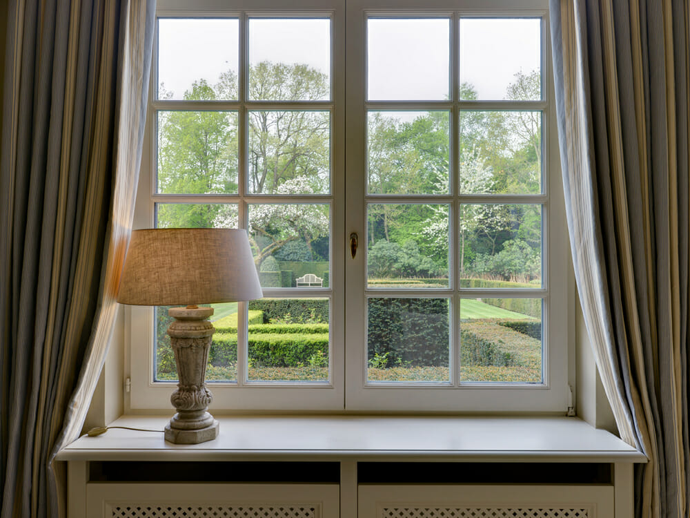 Simonton Windows with long drapes