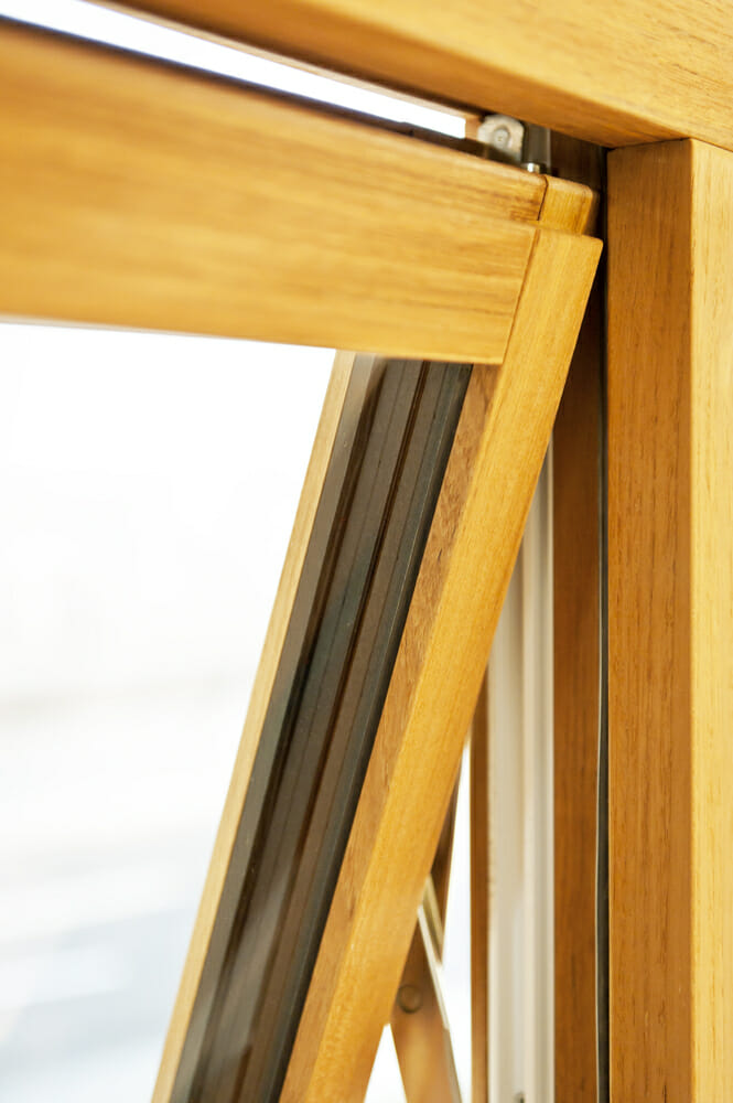 close up of a wood framed window