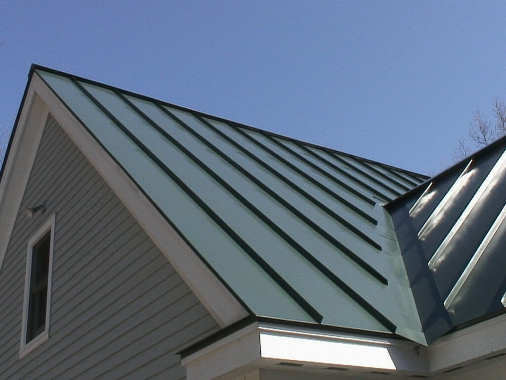close-up of a standing seam metal roof