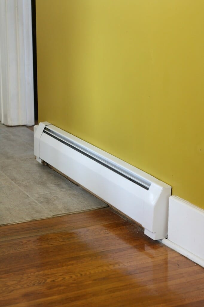 A baseboard radiator inside a home.