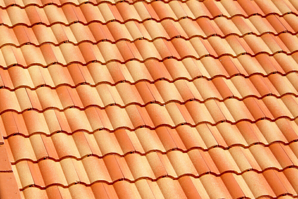 Close-up image of clay tile shingles.