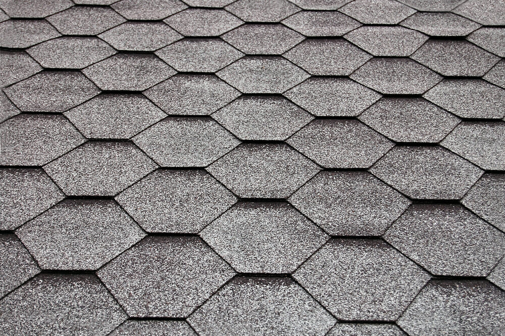 Fiberglass shingles on a rooftop.