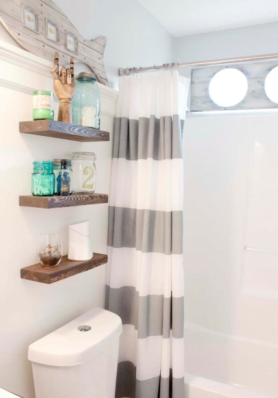 Storage in small bathroom - Floating Wall Shelves Over Toilet