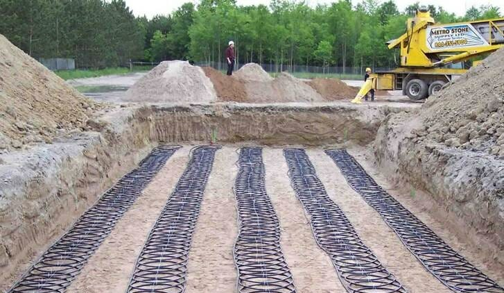 An open lot with the foundations of a geothermal heat pump.