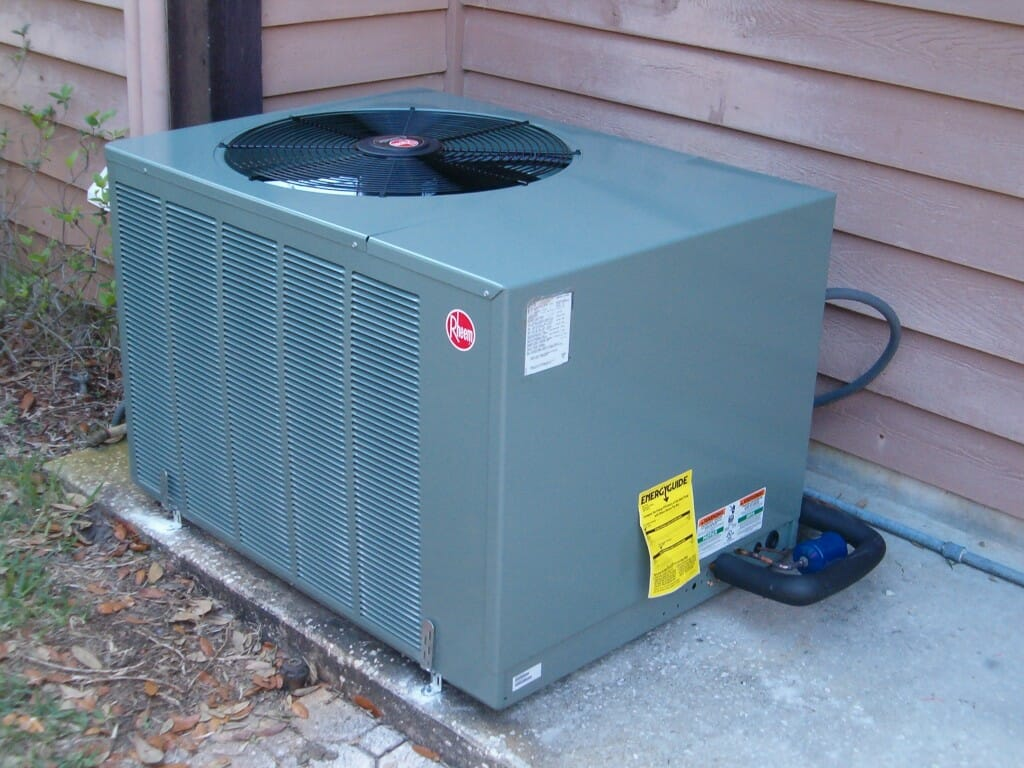 Close-up image of a Rheem HVAC unit.