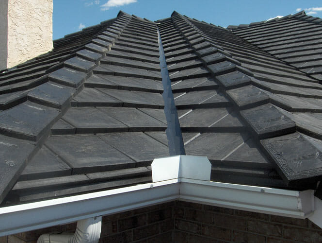 A close-up of rubber roof shingles.