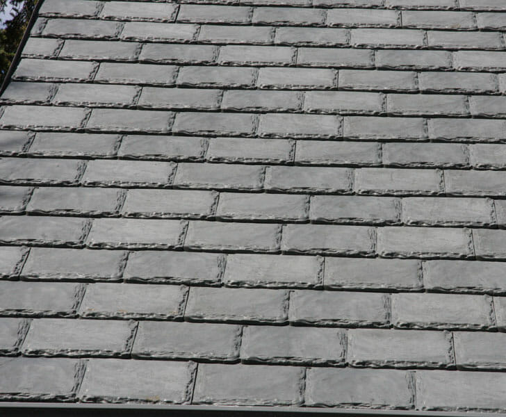 A close-up image of rubber shingles.