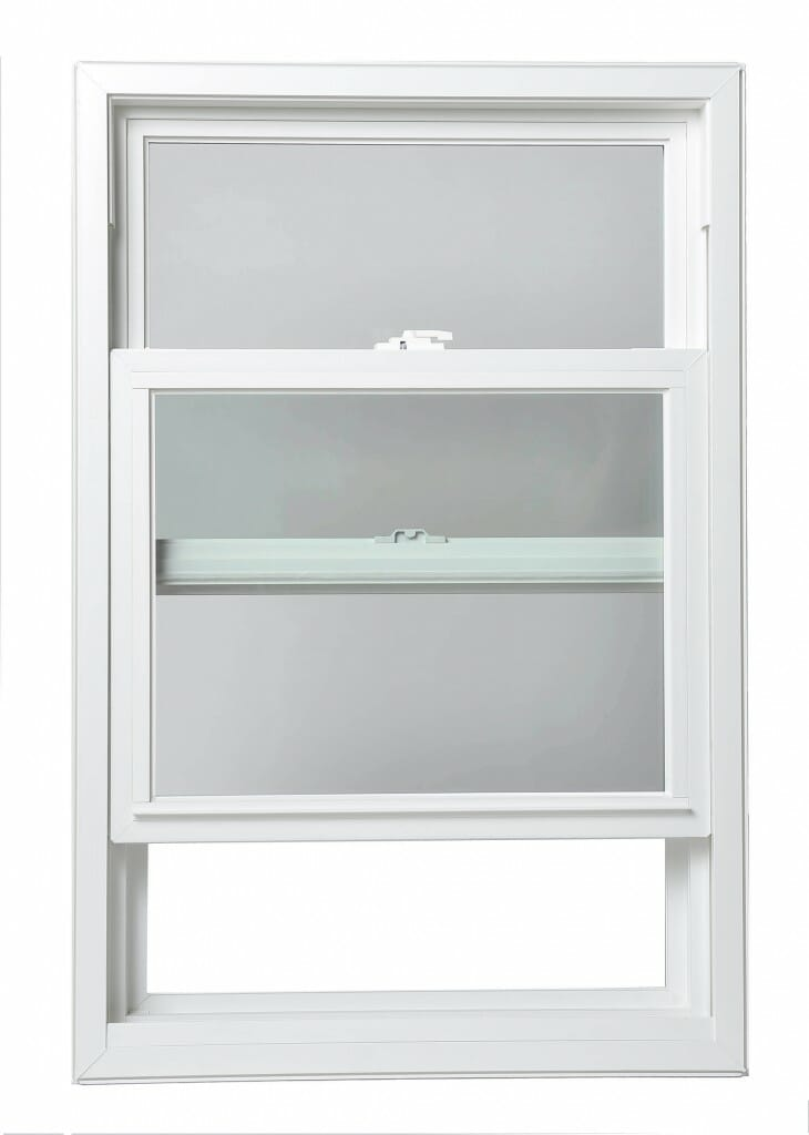 A white single hung window