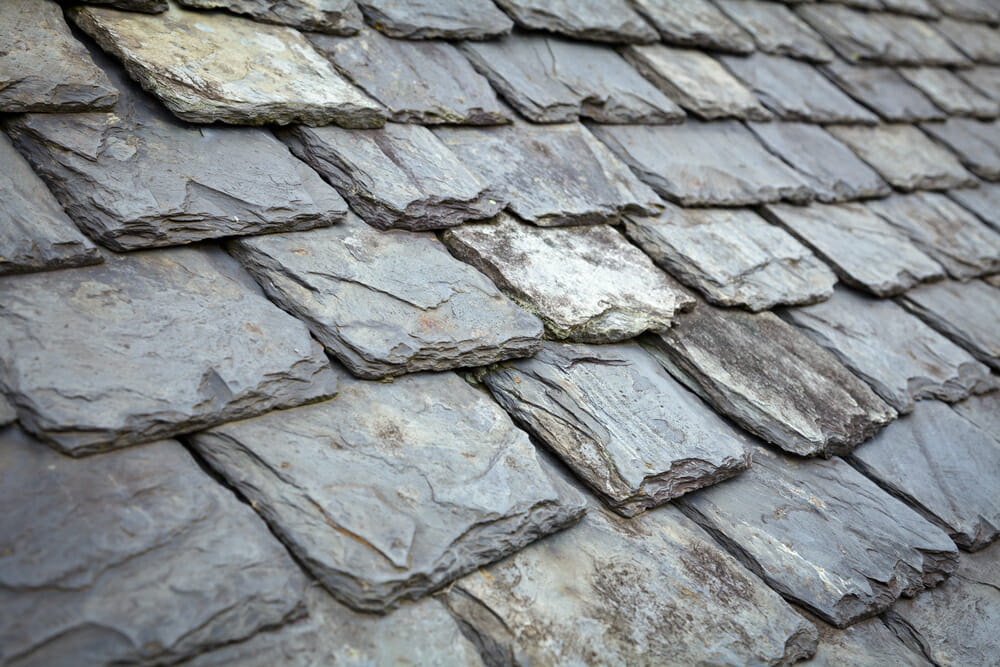 Close-up image of slate shingles.