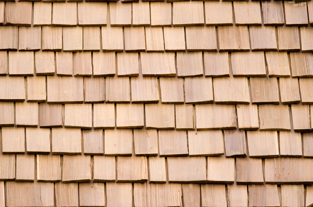 Close-up of wood shakes shingles