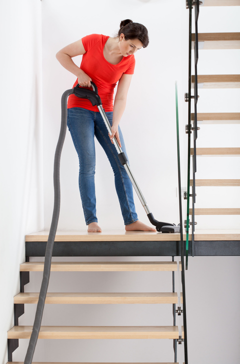 Vacuuming-home-basement-stairs